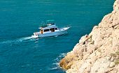 White Yacht Pleasure Boat Floating In Blue Sea Beautiful Aerial View Summer Traveling Transport