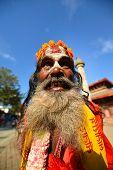 Hindu sadhu man in Kathmandu, Nepal