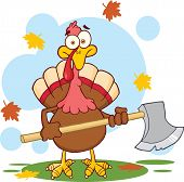 Turkey With Ax Cartoon Character