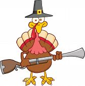 Pilgrim Turkey Bird Character With A Musket