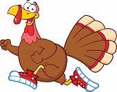 Happy Turkey Bird Cartoon Character Jogging