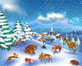 wild animals in a winter landscape