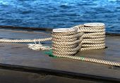 Modern Military Submarine Fragment:careful Bundle Of Rope On The Mooring Bollard
