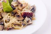 Paste With Mushrooms And Seafood