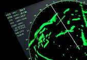 Closeup Fragment Of Ships Navigation Radar Screen