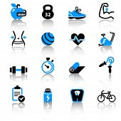 stock photo of skipping rope  - Fitness icons - JPG
