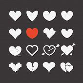 stock photo of pixel  - Different abstract heart icons collection - JPG