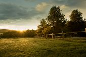 picture of farm landscape  - Beautiful sunrise on the farm  - JPG