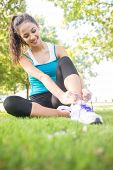 Happy active brunette tying her shoelaces in a park on a sunny day