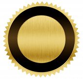 gold and black medal with clipping path included