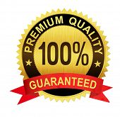 premium quality guaranteed gold seal medal with red ribbon isolated