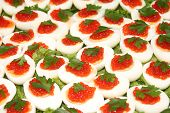 Red caviar in eggs