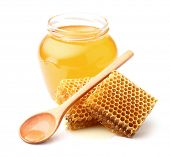 stock photo of honeycomb  - Fresh honey with honeycombs - JPG