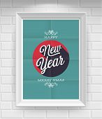 Vintage New Year Poster. Vector illustration.