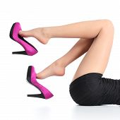 Beautiful Woman Legs With A Fuchsia High Heels Dangling