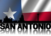 stock photo of texans  - San Antonio skyline and text reflected with rippled Texan flag illustration - JPG