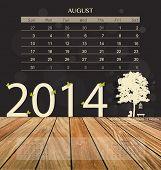 2014 calendar, monthly calendar template for August. Vector illustration.
