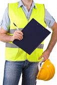 stock photo of blue-collar-worker  - Image of a Blue collar worker with hardhat - JPG