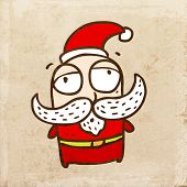 Santa Claus with Big White Mustache. Cute Christmas Hand Drawn Vector illustration, Vintage Paper Texture Background