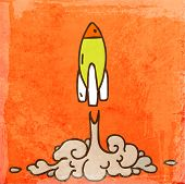 Green Cartoon Space Rocket Takes off. Rocket Launch. Cute Hand Drawn Vector illustration, Vintage Pa
