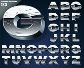 Vector illustration of Silver chrome or aluminum scratched 3D alphabet. Extended Bold style. Set 1