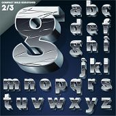 Vector illustration of Silver chrome or aluminum scratched 3D alphabet. Compact bold style. Set 2
