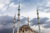 Largest Antalya province Muslim islam religion Tahtakale Camii mosque with four minarets in Turkey Manavgat