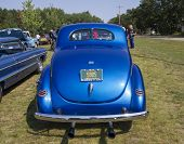 1940 Blue Ford Deluxe Car Rear View