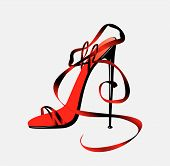 stock photo of high heel shoes  - The barafoot person on a high heel - JPG