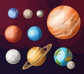 foto of earth mars jupiter saturn uranus  - Set of all planets of solar system - JPG