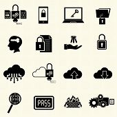 Data and computer security icon set with texture background