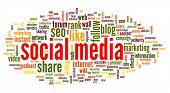 Social media concept in word tag cloud on white background