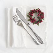Knife And Fork With Red Wreath For Christmas