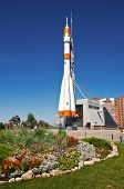 Samara, Russia - September 1: Real Soyuz Spacecraft As Monument On September 1, 2011 In Samara. Soyu
