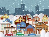 stock photo of suburban city  - Vector illustration of city buildings  - JPG