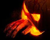 Creepy Halloween Carved Pumpkin