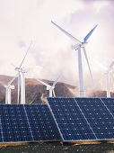 Solar Eco power and wind generators.