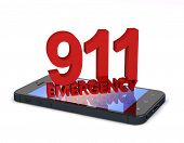 stock photo of sos  - 3d rendering of an mobile phone with 911 emergency number - JPG