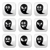 Halloween ghost vector buttons set - scary, friendly, happy