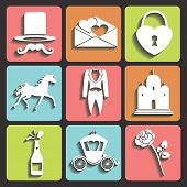Design Wedding Flat Icons For Web And Mobile.vector