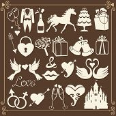 Wedding Design Flat Icons For Web And Mobile.vector