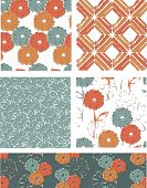 Modern Vector Seamless Floral Patterns. Use as fills or print off onto fabric to create unique items