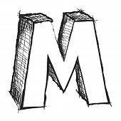 Sketchy Hand Drawn Letter M Isolated On White