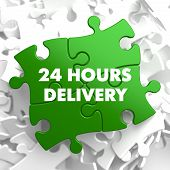 Green Puzzle with slogan - 24 hours Delivery.