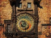 Orloj Astronomical Clock In Prague. Czech Republic, Dark Colors