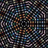 Mosaic Pattern Abstract of semi-precious gemstones stones and minerals  isolated on black background