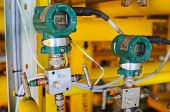 stock photo of manometer  - Pressure transmitter in oil and gas process  - JPG