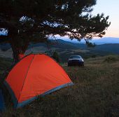 Camp With Tent And Car