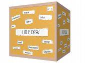Help Desk 3D Cube Corkboard Word Concept