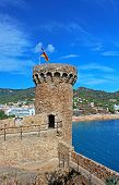 Tower Of Old Castle And View Of Tossa De Mar Village, Spain